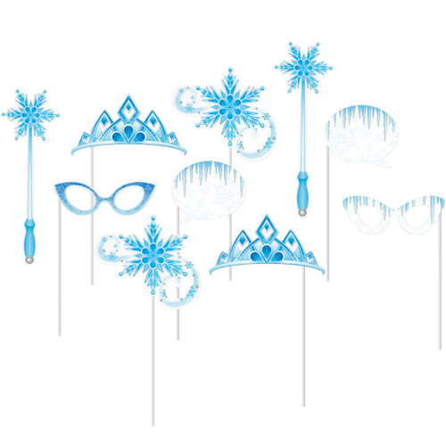 """Club Pack of 60 Blue Snow Princess Photo Booth Props 10"""" - IMAGE 1"""