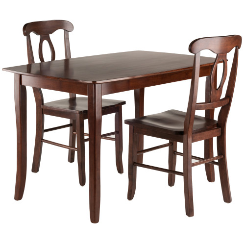 "Set of 3 Rich Walnut Rectangular Dining Table with Key Hole Back Chairs 29"" - IMAGE 1"