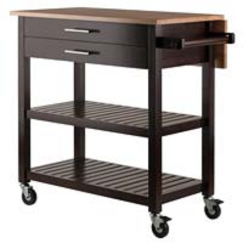 """34.25"""" Brown and Beige Langdon Kitchen Cart with Two Drawers and Two Slatted Shelves - IMAGE 1"""