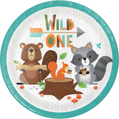 """Club Pack of 96 Blue and Orange """"WILD ONE"""" 1st Birthday Woodland Disposable Luncheon Plates 7"""" - IMAGE 1"""
