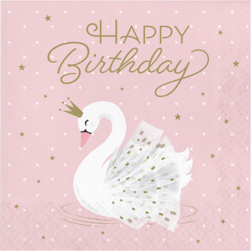 """Club Pack of 192 White and Pink Stylish Swan Happy Birthday 2-Ply Luncheon Napkins 6.5"""" - IMAGE 1"""
