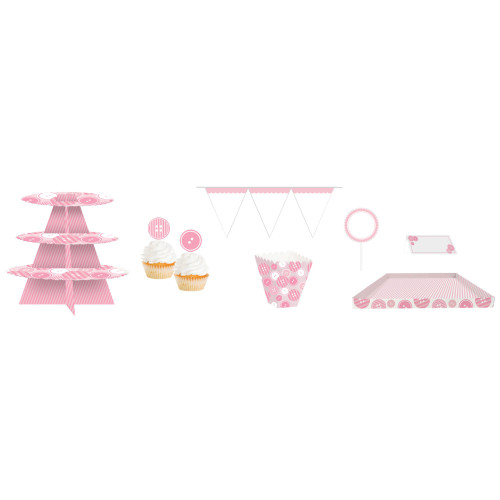 "Club Pack of 162 Pink and White Birthday Treat Table Kit 108"" - IMAGE 1"