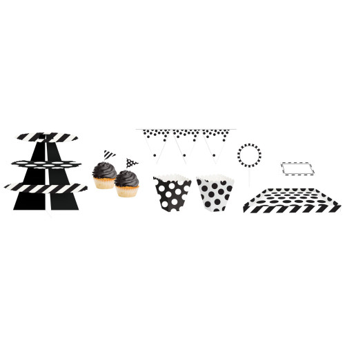 "Club Pack of 162 Black and White Birthday Treat Table Kit 108"" - IMAGE 1"