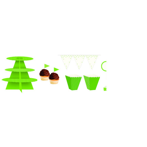 "Club Pack of 162 Lime Green and White Birthday Treat Table Kit 108"" - IMAGE 1"