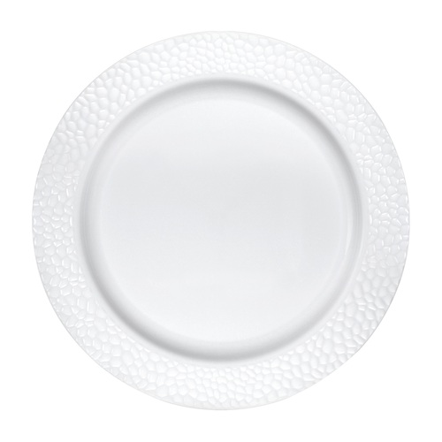 """Club Pack of 120 White Disposable Pebble Plastic Round Party Luncheon Plates 7"""" - IMAGE 1"""