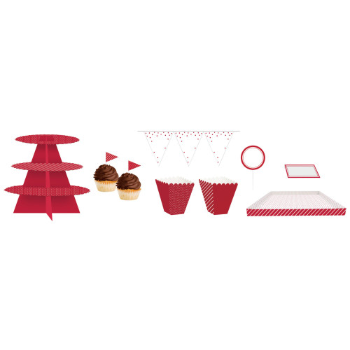 "Club Pack of 162 Red and White Birthday Treat Table Kit 108"" - IMAGE 1"