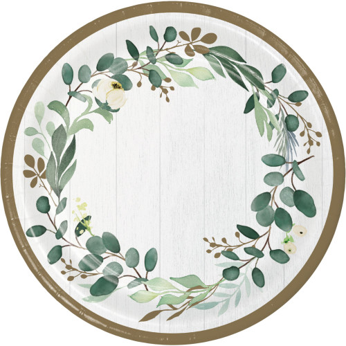 "Club Pack of 96 Green and White Disposable Eucalyptus Round Paper Dinner Plates 9"" - IMAGE 1"