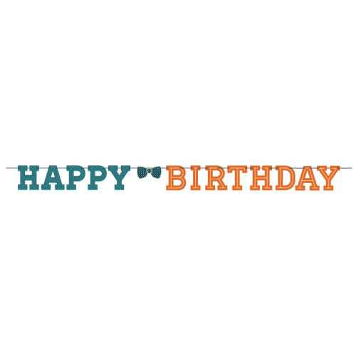 """Club Pack of 12 Blue and Orange Hipster """"HAPPY BIRTHDAY"""" Party Banners 96"""" - IMAGE 1"""