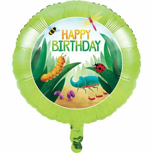 "Pack of 10 Green and Blue Metallic Bugs ""HAPPY BIRTHDAY"" Party Balloons - IMAGE 1"