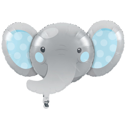 Pack of 10 Gray and Blue Metallic Enchanting Elephant Boy Birthday Party Balloons - IMAGE 1