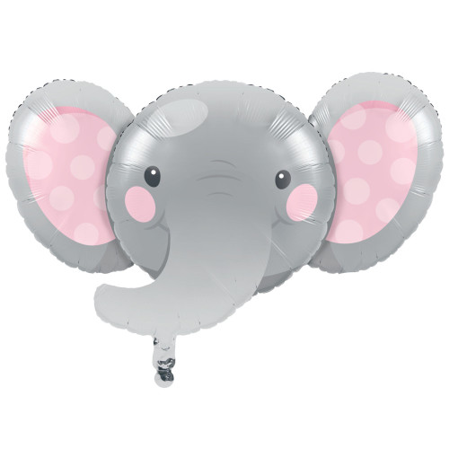 Pack of 10 Gray and Pink Metallic Enchanting Elephant Girl Birthday Party Balloons - IMAGE 1