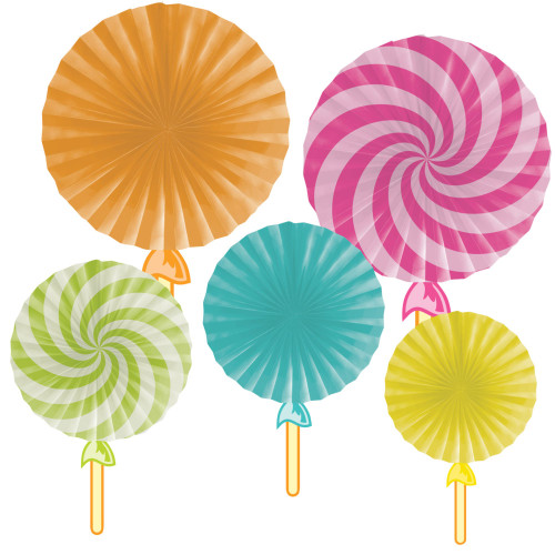 """Club Pack of 30 Orange and Blue Candy Shop Party Fans 16"""" - IMAGE 1"""