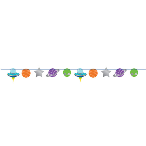 """Club Pack of 12 Green and Orange Space Party Banner 87"""" - IMAGE 1"""