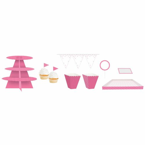 "Club Pack of 162 Candy Pink and White Birthday Treat Table Kit 108"" - IMAGE 1"