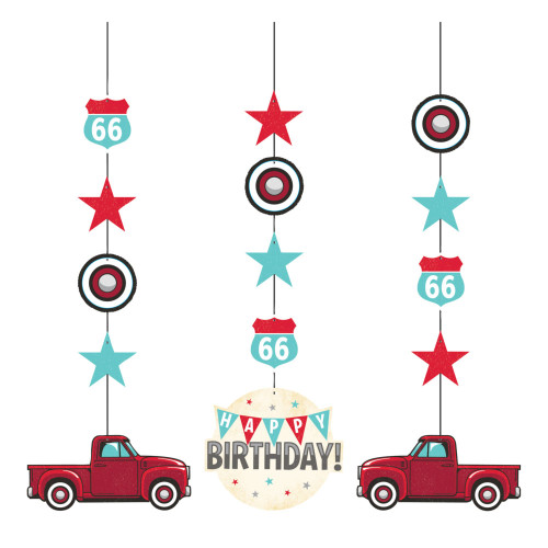 """Club Pack of 36 Red Vintage Truck Hanging Tissue Paper Fan Party Decorations 32"""" - IMAGE 1"""