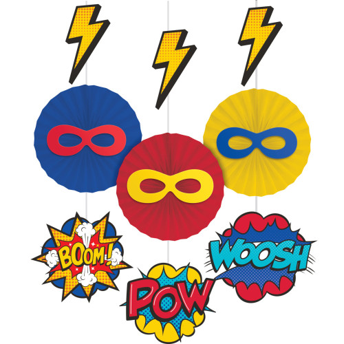 """Club Pack of 36 Red and Blue Superhero Hanging Tissue Paper Fan Party Decorations 28"""" - IMAGE 1"""