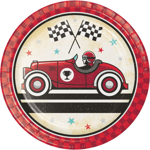 """Club Pack of 96 Red and White Vintage Race Car Circle Plates 7"""" - IMAGE 1"""