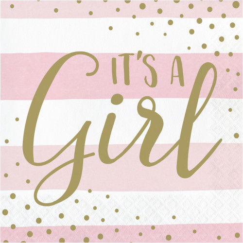 """Club Pack of 192 Pink and Gold """"It's a Girl"""" 2-Ply Luncheon Napkins 6.5"""" - IMAGE 1"""