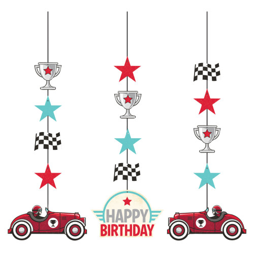 """Club Pack of 36 Vintage Race Car Hanging Tissue Paper Fan Party Decorations 32"""" - IMAGE 1"""
