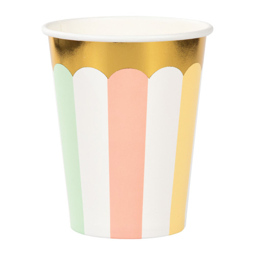 Club Pack of 96 Gold and White Disposable Paper Drinking Party Tumbler Cups 9 oz. - IMAGE 1