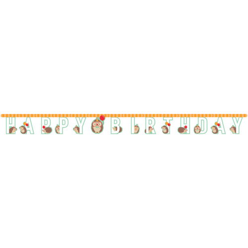 """Club Pack of 12 Brown and Green Hedgehog Birthday Banners 120"""" - IMAGE 1"""