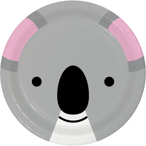 """Club Pack of 96 Gray and Pink Disposable Koala Face Paper Round Party Luncheon Plates 7"""" - IMAGE 1"""