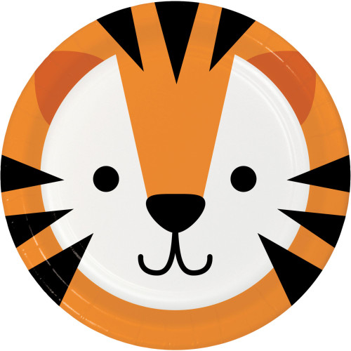 """Club Pack of 96 Orange and Black Disposable Tiger Face Paper Round Dinner Plates 9"""" - IMAGE 1"""