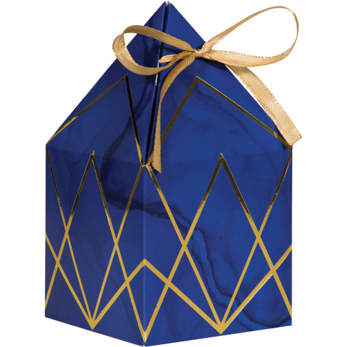 """Club Pack of 48 Navy Blue and Gold Foil Favor Boxes 6"""" - IMAGE 1"""