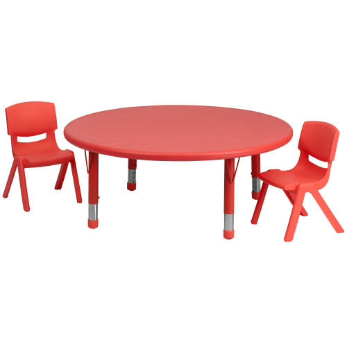 "Set of 3 Round Red Plastic Height Adjustable Activity Table and Chairs 45"" - IMAGE 1"