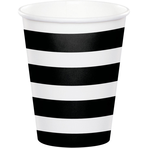 Club Pack of 96 Black Dots and Stripes Disposable Paper Drinking Party Tumbler Cups 8 oz. - IMAGE 1