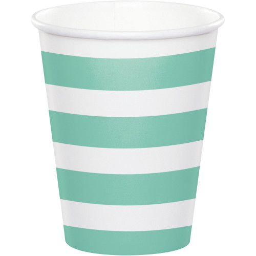 Club Pack of 96 Fresh Mint Striped Disposable Plastic Drinking Party Tumbler Cups 8 oz. - IMAGE 1
