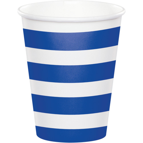 Club Pack of 96 Cobalt Blue and White Striped Disposable Plastic Drinking Party Tumbler Cups 8 oz. - IMAGE 1