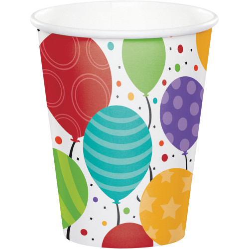 Club Pack of 96 White Shimmering Balloons Disposable Paper Drinking Party Tumbler Cups 8 oz. - IMAGE 1