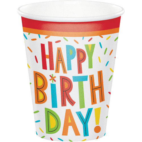 Club Pack of 96 White Birthday Fun Disposable Paper Drinking Party Tumbler Cups 8 oz. - IMAGE 1