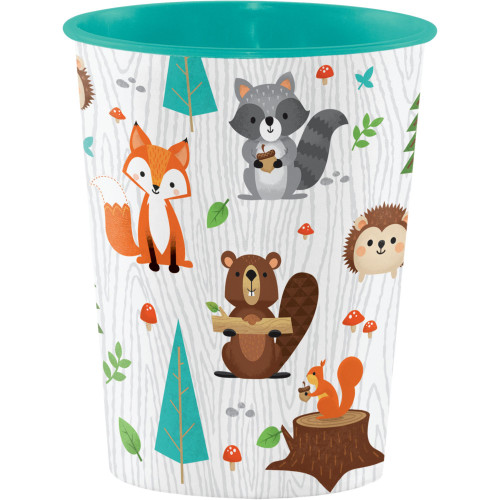 Pack of 12 White Wild One Woodland Disposable Plastic Drinking Party Tumbler Cups 16 oz. - IMAGE 1