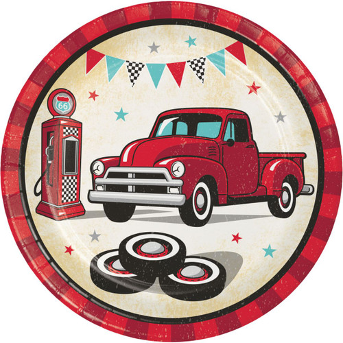 """Club Pack of 96 Red and Black Vintage Truck Circle Plates 7"""" - IMAGE 1"""