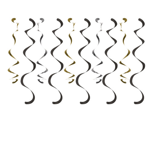 """Club Pack of 60 Black and Gold Roaring 1920s Dizzy Danglers Hanging Party Decorations 39"""" - IMAGE 1"""