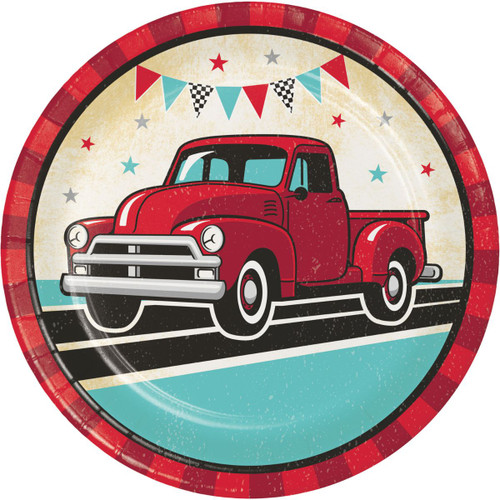 """Club Pack of 96 Red and Blue Vintage Truck Circle Plates 9"""" - IMAGE 1"""