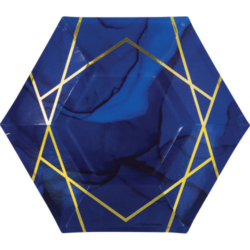 """Club Pack of 96 Navy Blue and Gold Geode Disposable Paper Luncheon Plates 9.25"""" - IMAGE 1"""