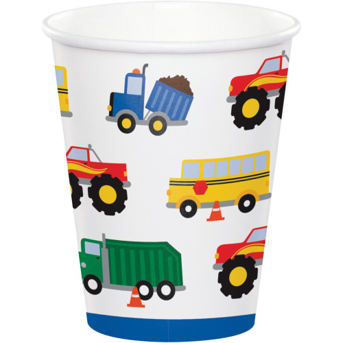 Club Pack of 96 White Traffic Jam Disposable Paper Drinking Party Tumbler Cups 8 oz. - IMAGE 1