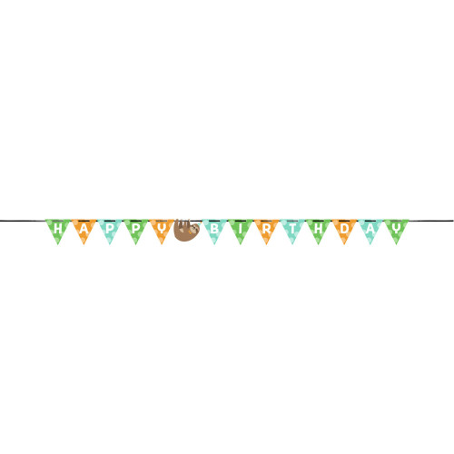"""Club Pack of 12 Brown and Green Birthday Sloth Party Banner 110.5"""" - IMAGE 1"""