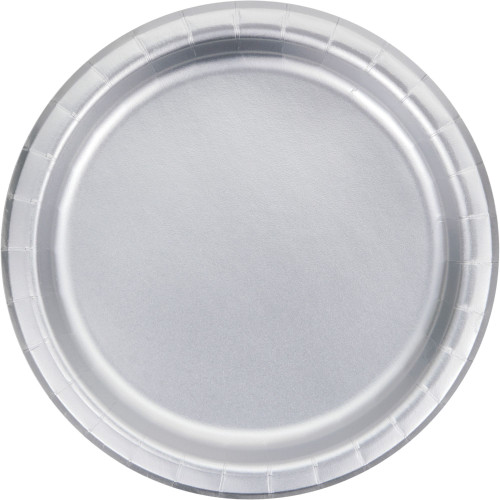 """Club Pack of 96 Silver Disposable Dinner Plates 9"""" - IMAGE 1"""