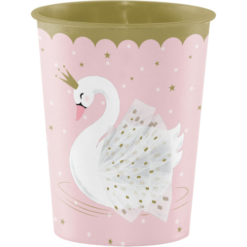 Pack of 12 Pink Stylish Swan Disposable Plastic Drinking Party Tumbler Cups 16 oz. - IMAGE 1