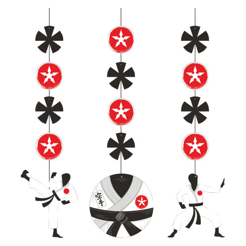"""Club Pack of 36 Black and Red Karate Party Hanging Cutouts 32"""" - IMAGE 1"""
