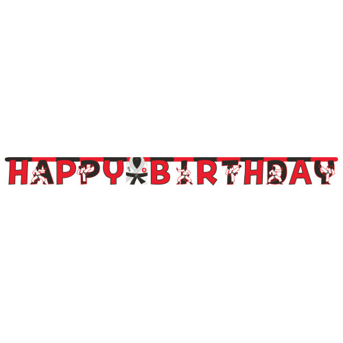 """Club Pack of 12 Red and Black Karate """"HAPPY BIRTHDAY"""" Party Banners 120"""" - IMAGE 1"""