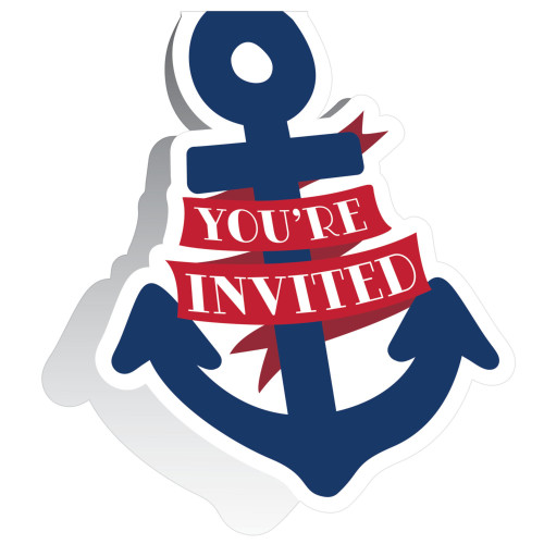 """Club Pack of 48 Blue and Red Nautical Baby 20s Invitations 5"""" - IMAGE 1"""
