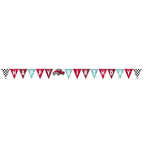 """Club Pack of 12 Red Truck """"HAPPY BIRTHDAY"""" Party Banners 66"""" - IMAGE 1"""