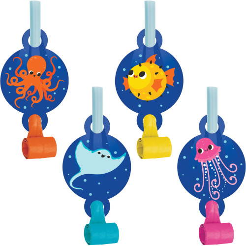 """Club Pack of 48 Blue and Orange Ocean Celebration Blowout Party Noisemakers 5.25"""" - IMAGE 1"""