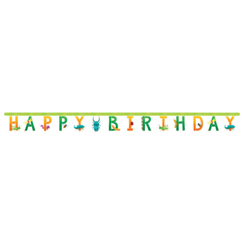 """Club Pack of 12 Green and Orange Bugs """"HAPPY BIRTHDAY"""" Party Banners 120"""" - IMAGE 1"""