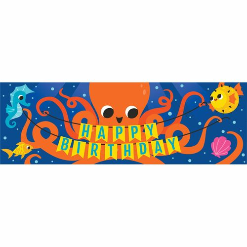 """Pack of 6 Blue and Orange Octopus """"HAPPY BIRTHDAY"""" Party Banners 60"""" - IMAGE 1"""